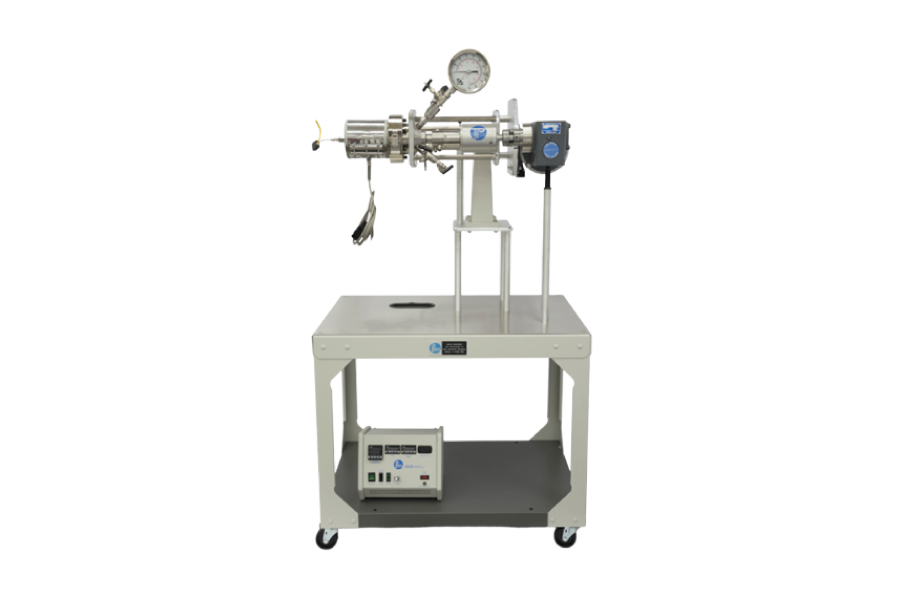 One Liter Horizontal Stirred Reactor with heavy duty stirring motor in its upright position. A 4848 Controller is used to monitor the system pressure and control the temperature and stirring speed